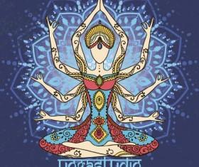 Yoga girl floral vector material 10