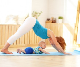 Young woman doing yoga fitness and baby Stock Photo 02