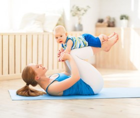 Young woman doing yoga fitness and baby Stock Photo 03
