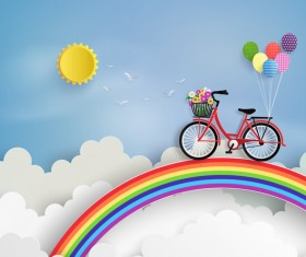 byicycle and rainbow with cloud vector