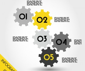five yellow full infographic gears vector