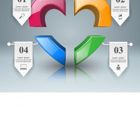heart with line paper infographic vector