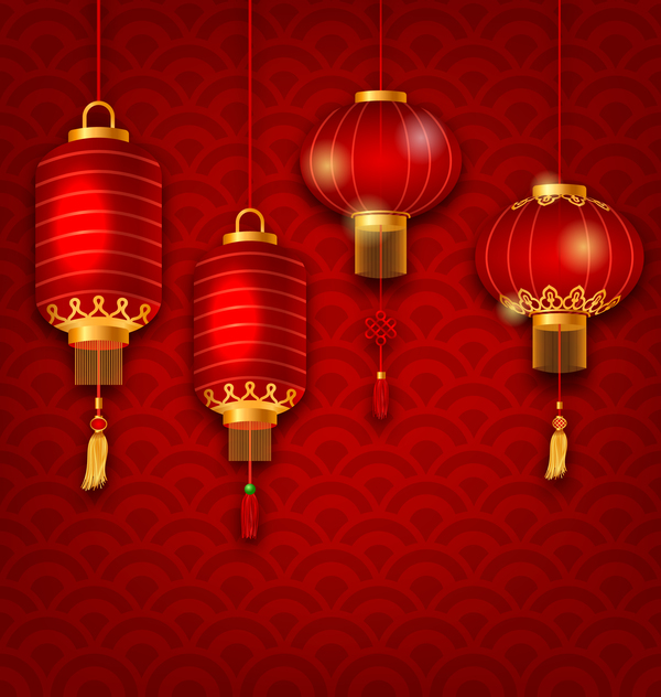 lantern with chinese new year red background vector 01 ...