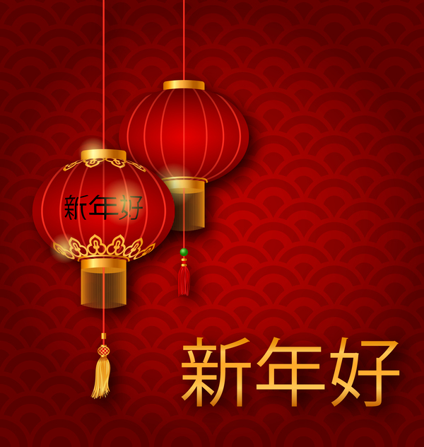 lantern with chinese new year red background vector 06