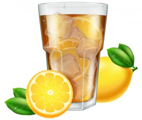 lemon with tea and Ice cubes vector