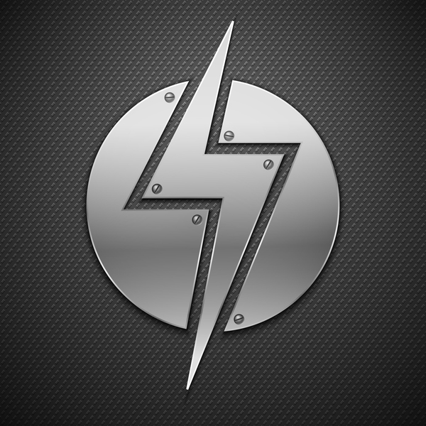 lightning sign with metal backgrounds vector
