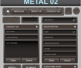 metal web elements set vector