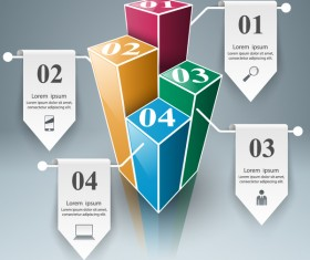 paper four 3d infographic vector