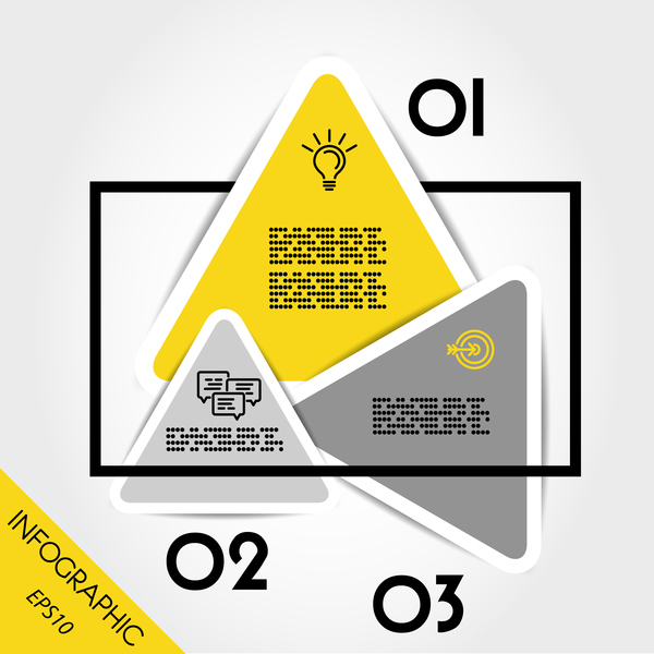 yellow infographic triangular template with rectangle vector