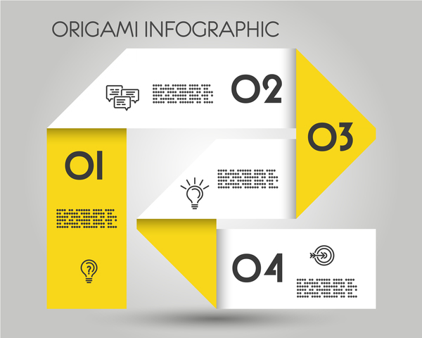yellow origami infographic template vector