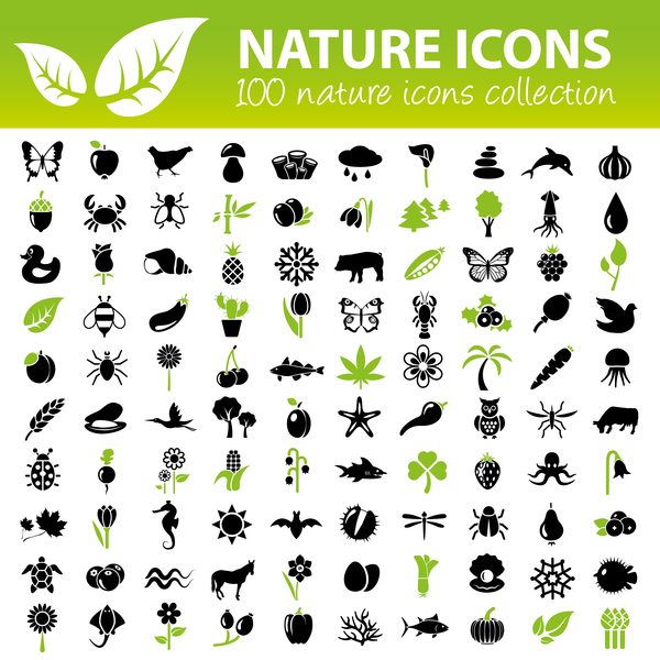 100 kind nature icons set