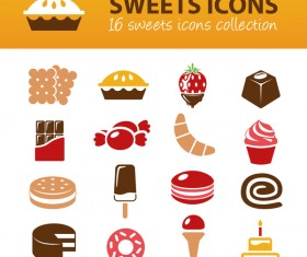 16 Kind sweet icons set