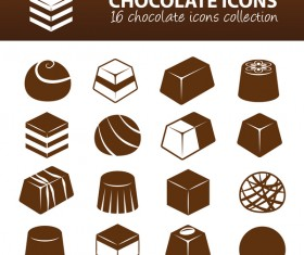 16 kind chocolate icons set