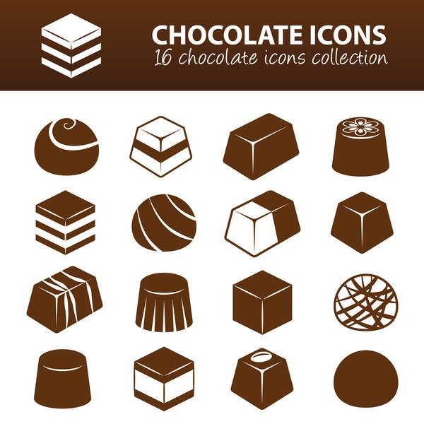 16 kind chocolate icons set