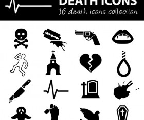 16 kind death icons set
