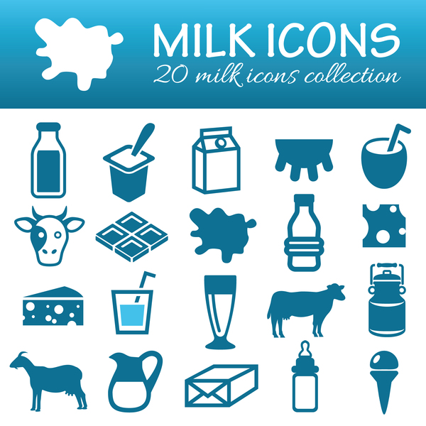 20 Kind milk icons set