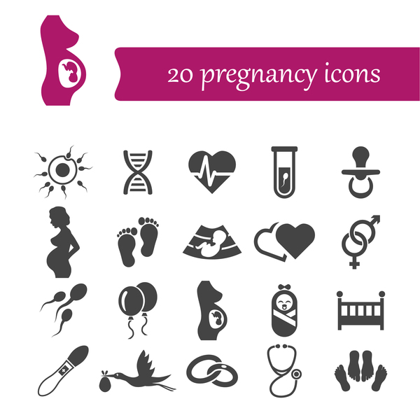 20 Kind pregnancy icons set