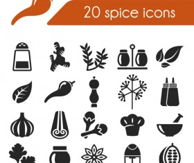 20 Kind spice icons set