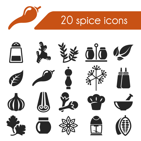 20 Kind spice icons set