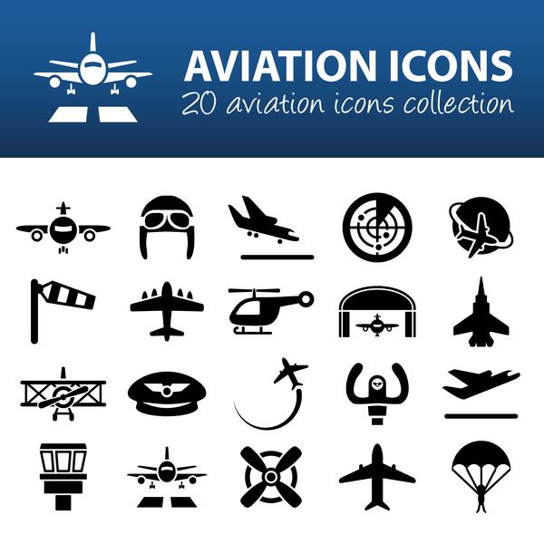 20 kind aviation icons set