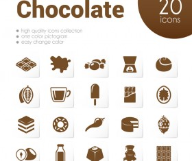 20 kind chocolate icons set