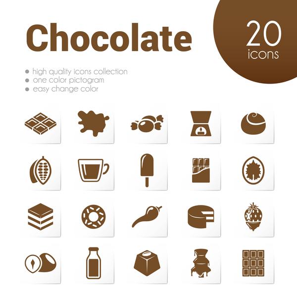 20 kind chocolate icons set