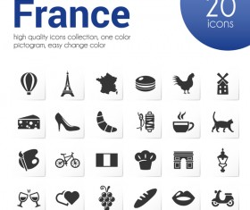 20 kind france icons set