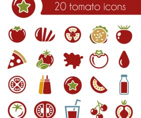 20 kind tomato icons set