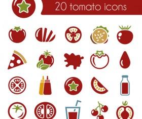 20 kind tomato icons set