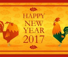 Happy new year 2017 background with rooster vector 01