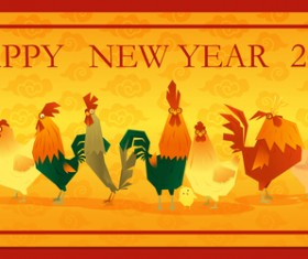 Happy new year 2017 background with rooster vector 02