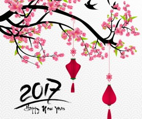 2018 Chinese New Year Background With Flowers Vector 01 Ground Photos Psd Files And Icons Free Flower Lunar Healthy