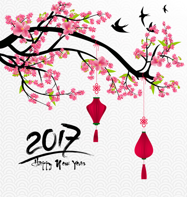 2017 chinese new year background with flowers vector 01