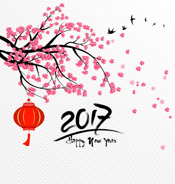 2017 chinese new year background with flowers vector 02