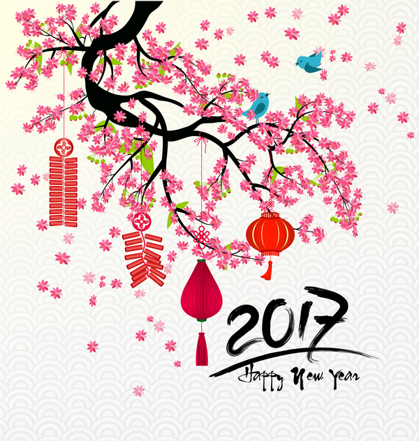 2017 chinese new year background with flowers vector 05