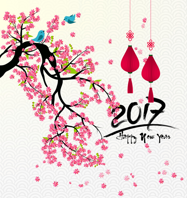2017 chinese new year background with flowers vector 06