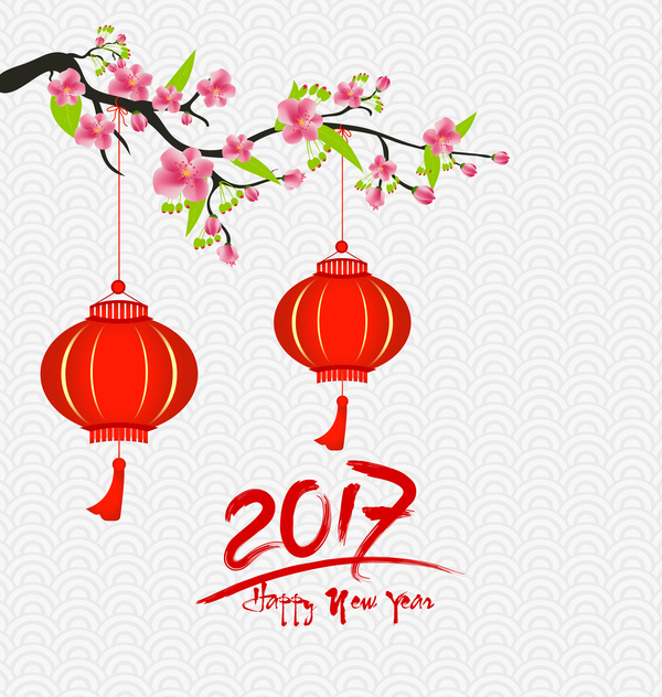 2017 chinese new year background with flowers vector 07