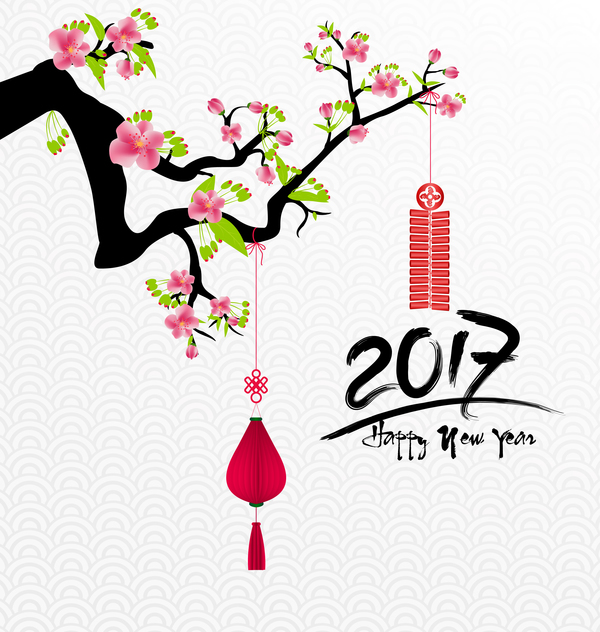 2017 chinese new year background with flowers vector 08