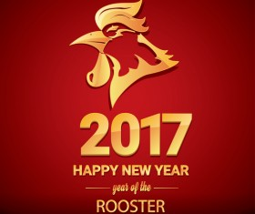 2017 chinese new year of rooster red styles background vector 03