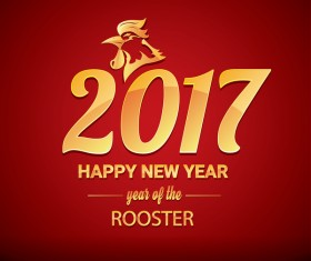 2017 chinese new year of rooster red styles background vector 04