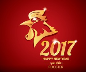 2017 chinese new year of rooster red styles background vector 05