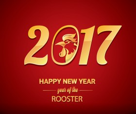 2017 chinese new year of rooster red styles background vector 06