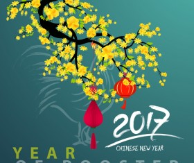 2017 chinese new year of rooster with flowers and green background vector