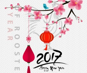 2017 chinese new year of rooster with flowers vector 01