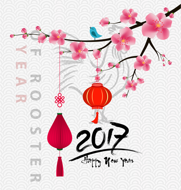2017 chinese new year of rooster with flowers vector 01 - Flowers for chinese new year ...