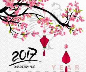 2017 chinese new year of rooster with flowers vector 03