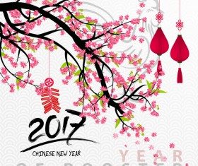 2017 chinese new year of rooster with flowers vector 04