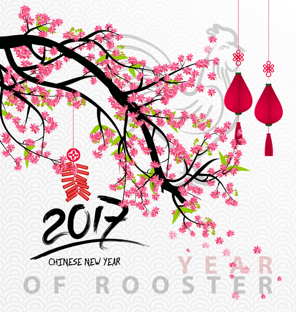 2017 chinese new year of rooster with flowers vector 04 - Flowers for chinese new year ...
