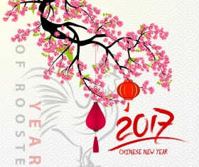 2017 chinese new year of rooster with flowers vector 05