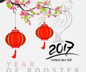 2017 chinese new year of rooster with flowers vector 06